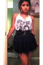 black skirt - blue shirt - black belt