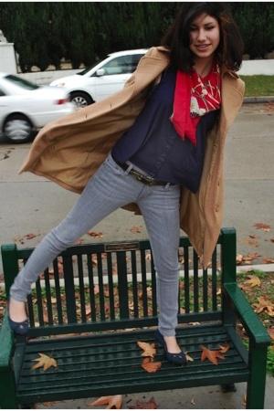 second hand scarf - Gap shoes - Silence&Noise coat - Bullhead jeans