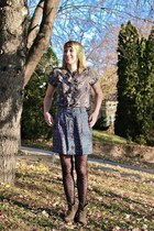 light brown boots - black tights - charcoal gray blouse - teal skirt