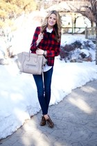 Celine bag - rag & bone jeans - Jcrew jacket - Equipment shirt