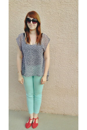 mint BDG jeans - blouse - coral cutouts sandals - glasses