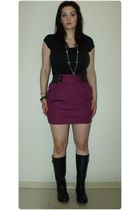 black Len Druskin t-shirt - purple Urban Planet skirt - black winners boots