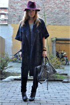 dark brown Repetto shoes - crimson vintage hat - charcoal gray balenciaga bag -