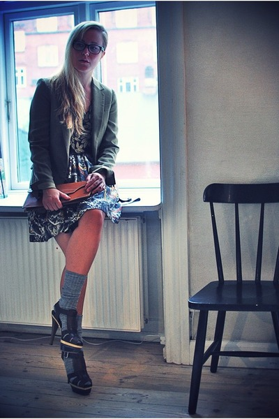 brown Marni shoes - green Zara blazer - brown vintage bag - black Zara skirt