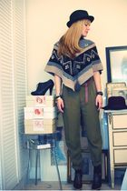 green Zara pants - brown Marni shoes - brown Ayamara sweater