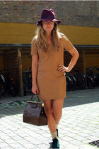 beige H&M dress - purple vintage hat - green Zara shoes - brown vintage bag