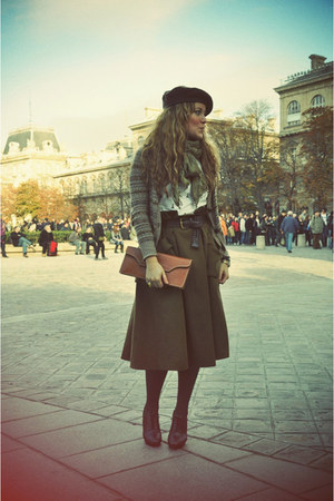 dark brown Repetto shoes - olive green H&M skirt - light brown Zara cardigan