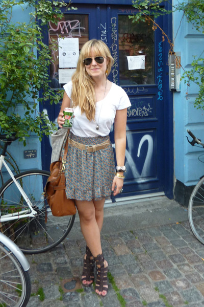 brown Topshop shoes - brown Mulberry purse - blue Zara skirt