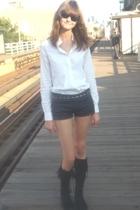 Helmut Lang shirt - American Apparel shorts - Zara belt - Minnetonka boots