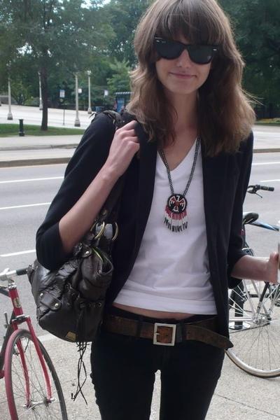 white American Apparel t-shirt - black Helmut Lang jeans