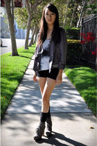 white Helmut Lang top - purple Tee-Up jacket - gray sam edelman falken clog boot