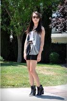 gray Rimo asymmetrical vest - black DIY skirt - brown random belt - black Alain