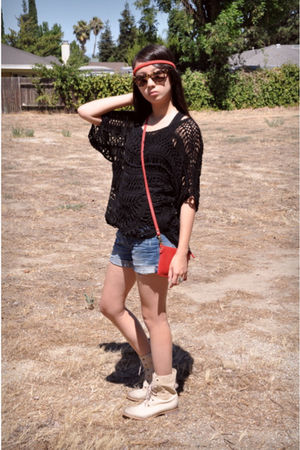 black sky dress - black Forever 21 top - blue madewell shorts - red Prada purse