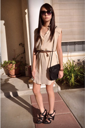 beige Zara dress - brown old belt - black loeffler randall shoes - black vintage