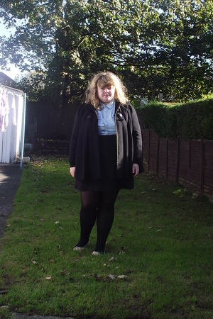 black Love Label coat - H&M skirt - black H&M tights - blue George shirt - pink