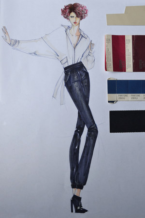 silk Ivory blouse - satin dark navy pants