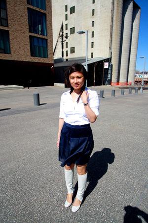 white Express shirt - 31 phillip lim skirt - silver maison martin margiela boots