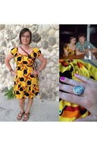 silver from mexico ring - yellow toucan print from mexico dress
