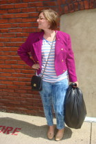 hot pink thrifted blazer - blue acid wash jeans Lucky Brand jeans