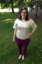 brown Proopicals glasses - magenta Old Navy pants - eggshell Charlotte Russe top