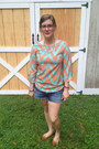 Blue-abercrombie-and-fitch-shorts-light-orange-everly-top