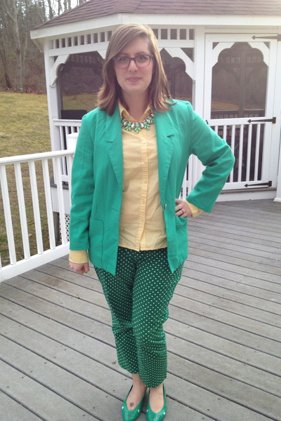 Green thrifted vintage blazer light yellow hand me down from mom top