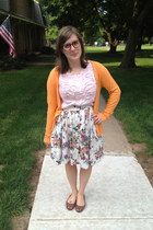 orange H&M cardigan - camel proopticals glasses - light pink Gap top