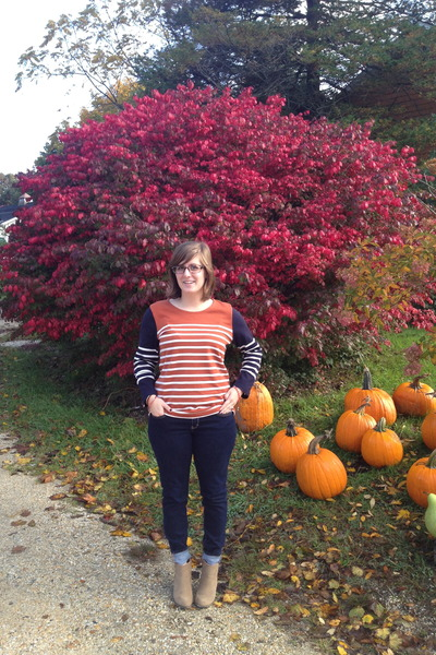 carrot orange JCrew sweater - dark khaki Wanted boots