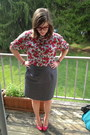 Red-bonlook-glasses-charcoal-gray-thrifted-skirt-white-thrifted-top