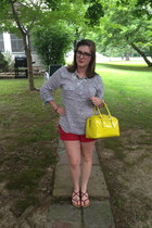 navy Warby Parker glasses - yellow kate spade bag - ruby red Old Navy shorts