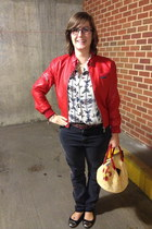 light yellow chicken bag  bag - dark gray BDG jeans - red Members Only jacket