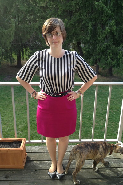 white ref shirt thrifted vintage blouse - hot pink Limited skirt