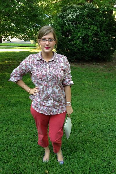 light pink Lord & Taylor blouse - white Michael Kors bag - coral talbots pants