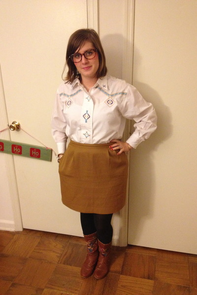 white vintage top - brown bullboxer boots - mustard vintage skirt