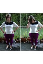 white Charter Club top - purple Old Navy pants