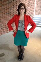 red blazer thrifted vintage blazer - Warby Parker glasses - Gap top - H&M skirt