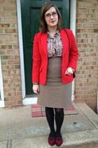 ruby red thrifted vintage blazer - beige Ralph Lauren blouse