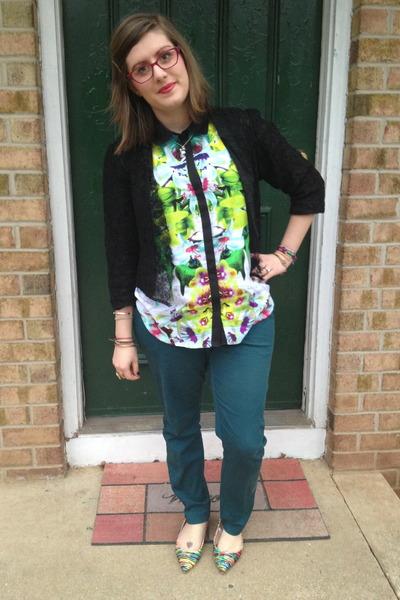 teal Target pants - black LC Lauren Conrad for Kohls blazer
