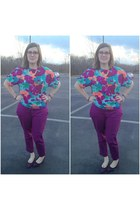 purple Old Navy pants - hot pink Rivet & Sway glasses