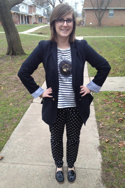 black Gap blazer - black BonLook glasses - navy madewell top - black Gap pants