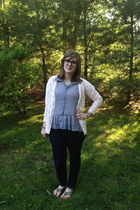 silver Target top - white Target cardigan - navy Warby Parker glasses