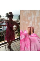 camel from mexico hat - hot pink from mexico dress - camel etienne aigner bag