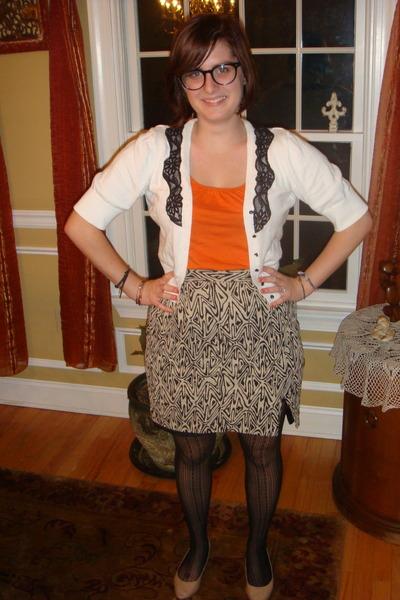 black thrifted vintage skirt - black Forever 21 stockings