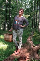 brown Target boots - charcoal gray  top - olive green Target pants