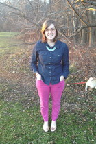 sky blue spike the punch necklace - camel Jean Lafont glasses - navy talbots top