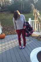 maroon Cooperative coat - ruby red Forever 21 jeans - silver Old Navy blouse