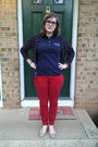 Navy-nasa-top-red-old-navy-pants-navy-warby-parker-glasses