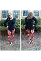 black firmoo glasses - gold Jcrew belt - black Forever21 top - red Target pants