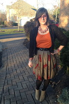 camel thirfted skirt - camel Wanted boots - gold baublebar necklace