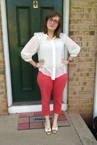 gold thrifted vintage flats - salmon talbots pants - white Walmart top